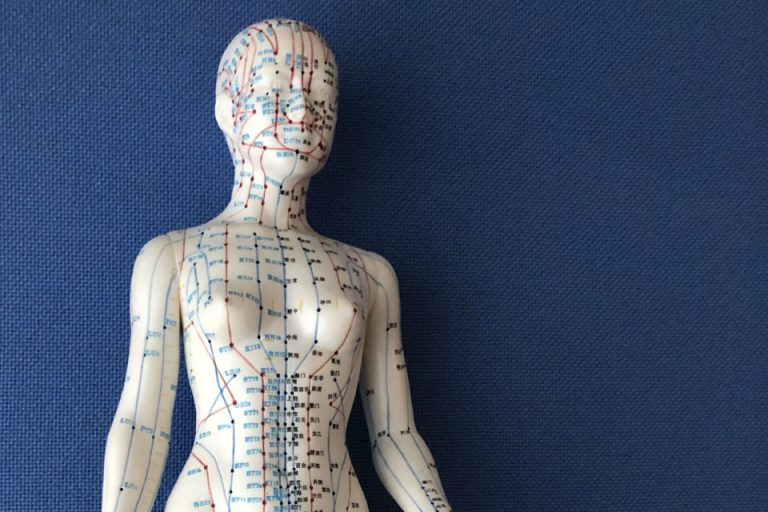 White manikin showing points for acupuncture therapy offered at Arnica Clinic in Cork